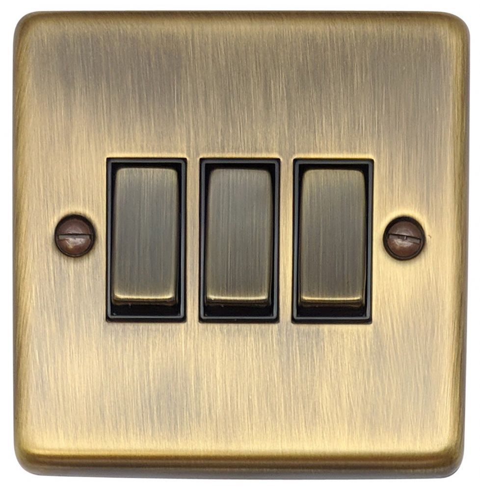 G&H CAB303 Standard Plate Antique Bronze 3 Gang 1 or 2 Way Rocker Light Switch